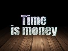 Business concept: Time Is money in grunge dark room Stock Illustration