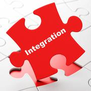 Business concept: Integration on puzzle background - stock illustration