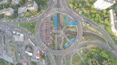 Radial flight above the round road junction. - stock footage