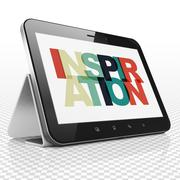 Advertising concept: Tablet Computer with Inspiration on  display - stock illustration
