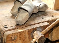 Wooden soled type dutch clogs - stock photo