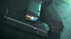 Pistol magazines with bullets inside Stock Footage