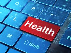 Medicine concept: Health on computer keyboard background - stock illustration