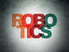 Science concept: Robotics on Digital Data Paper background Stock Illustration