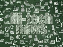 News concept: Hi-tech News on School board background - stock illustration
