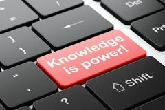 Education concept: Knowledge Is power! on computer keyboard background - stock illustration