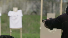 Man training in camp for dynamic tactical shooting with real bullets - stock footage