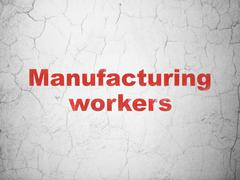 Manufacuring concept: Manufacturing Workers on wall background Stock Illustration
