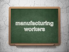 Industry concept: Manufacturing Workers on chalkboard background - stock illustration