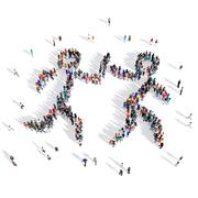 People relay race competition sport 3d Stock Illustration