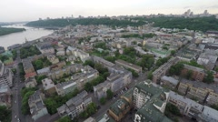 Flight across the city with lots of buildings Stock Footage