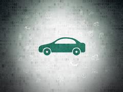 Tourism concept: Car on Digital Data Paper background - stock illustration