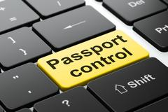 Travel concept: Passport Control on computer keyboard background - stock illustration