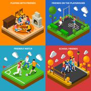 Friends Playing 4 Isometric Icons Composition Piirros