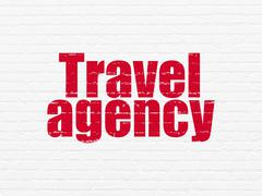 Tourism concept: Travel Agency on wall background - stock illustration