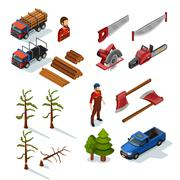 Lumberjack Isometric Icons Set Stock Illustration