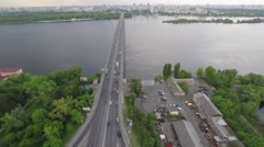flight above the round road junction and bridge. - stock footage