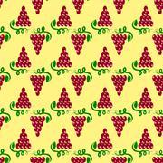 Grapes Seamless Pattern. Vine Background - stock illustration