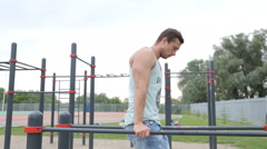 Man Doing Push Ups Outdoors Stock Footage