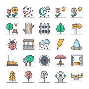 Nature, Park, Plants, Trees Vector Icons Set - stock illustration