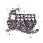 People ship 3d Stock Illustration