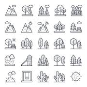 Nature, Park, Plants, Trees Vector Icons - stock illustration