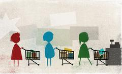 Women standing in row with shopping carts at supermarket Stock Illustration