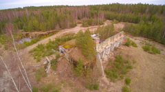 The ruined building in the middle of the forest Stock Footage