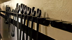Different sizes of wrench on the wall - stock footage