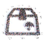 people box package shape 3d - stock illustration