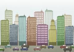 Cars moving on road by buildings in city - stock illustration