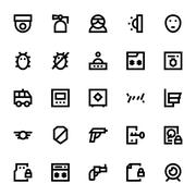 Crime, Security and Defence Vector Icons Set - stock illustration