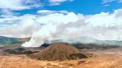 Indonesia travel landscape. Mount Bromo volcano in national park of Java Stock Footage