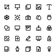 Design, Printing, Graphic Tools & Modeling Vector Icons Set Piirros