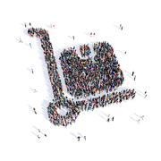 people handcart shape 3d - stock illustration
