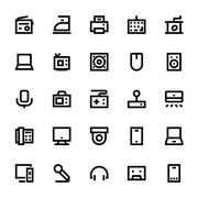 Electronics and Devices Vector Icons Collection Stock Illustration