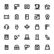 Electronics and Devices Vector Icons Pack Stock Illustration