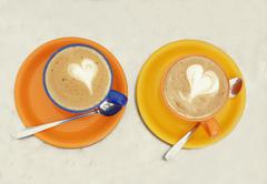 Two cups of coffee latte art Stock Illustration