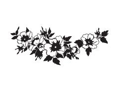 Beautiful blossoming wild rose branch with white flowers - stock illustration