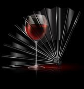 fan and glass of wine - stock illustration