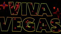 Zoom Out - Viva Vegas Neon Sign - Las Vegas Stock Footage