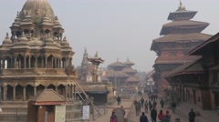People walking on Durbar square Patan Nepal Stock Footage