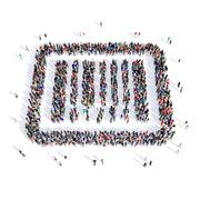 people barcode buy 3d - stock illustration