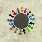 Multi colored children standing side by side around circle - stock illustration
