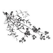 Botanical hand drawn branches with flowers isolated, herbal flowers isolated Stock Illustration