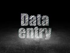 Information concept: Data Entry in grunge dark room - stock illustration
