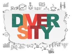 Business concept: Diversity on Torn Paper background Stock Illustration