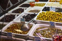 Olive stand at the Boqueria market in Barcelona Stock Photos