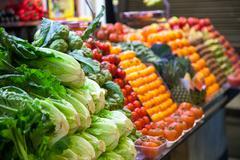 Marketplace with garden truck, vegetables, etc. in Barcelona Stock Photos