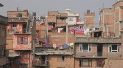 Living houses with clothes drying,Patan,Nepal Stock Footage